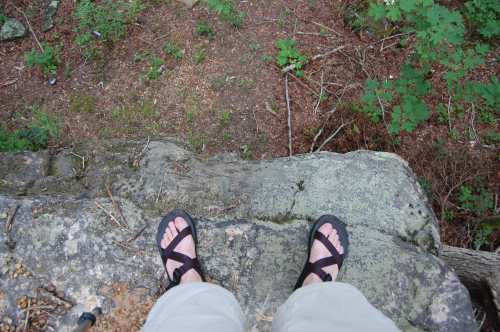 Breaking in the Chaco's (That's a 20 ft drop off.)