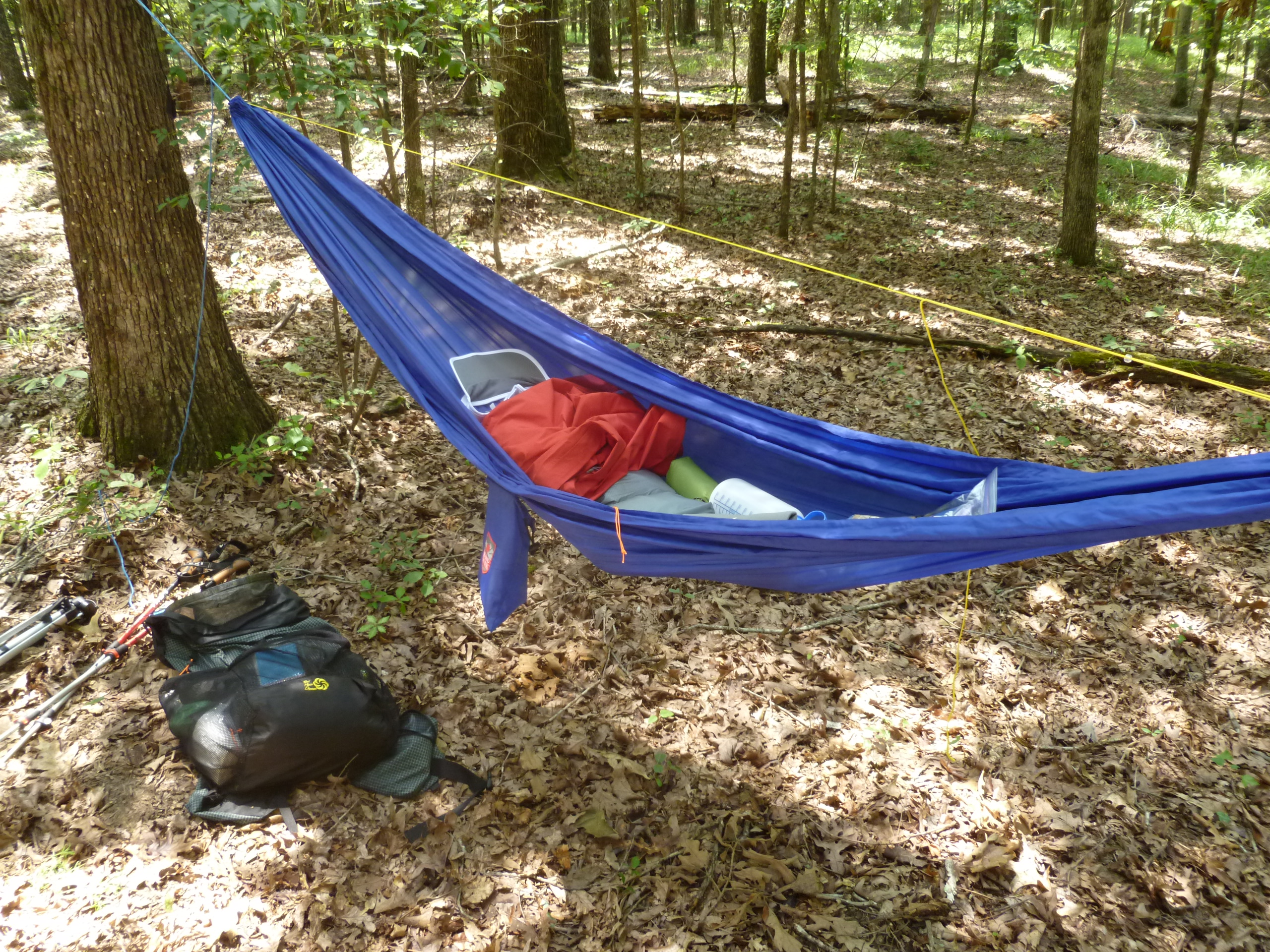 not too long ago i blogged about my new  to me  grand trunk ultralight hammock which i recently received  if you are familiar with that posting     whoopie slings single line tarp ridge lines and bug socks among      rh   sticksblog
